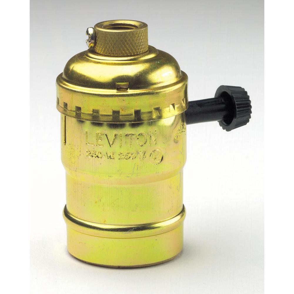 250W Medium Base 2-Circuit Turn Knob Aluminum Shell Incandescent Lampholder (Controls 2 Sockets), Brass