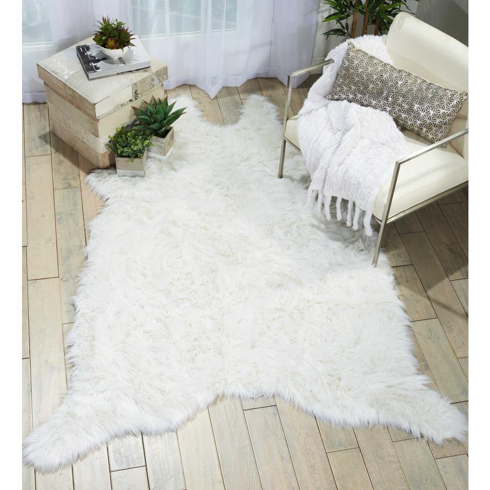 Fur White 5 ft. x 7 ft. Area Rug