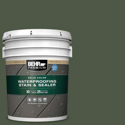 5 gal. #SC-120 Ponderosa Green Solid Color Waterproofing Exterior Wood Stain and Sealer