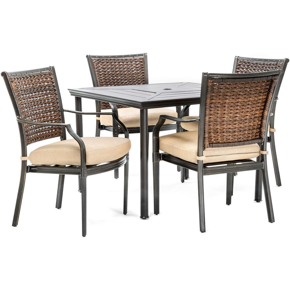 Hanover Mercer 5-Piece Aluminum Outdoor Dining Set with Country Cork  Cushions, 4 Dining Chairs and a 40 in. L Square Table