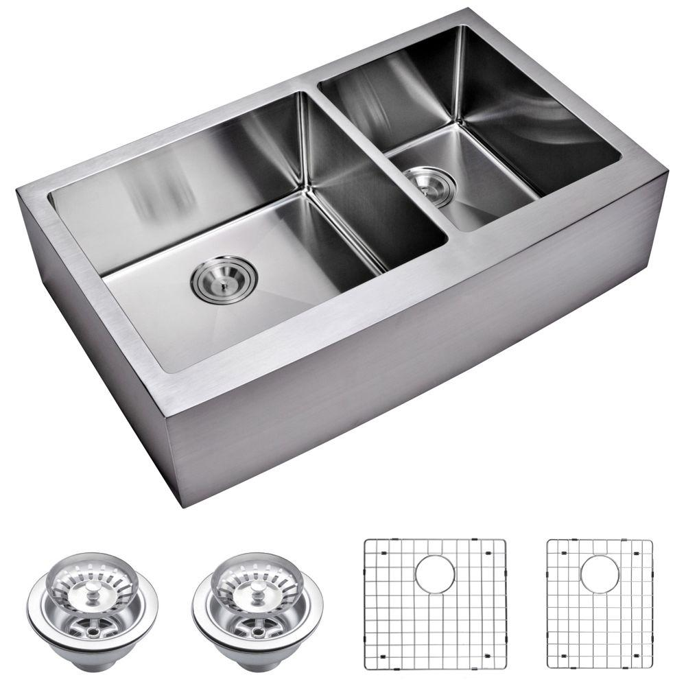 Farmhouse Apron Front Small Radius Stainless Steel 36 in. Double Bowl