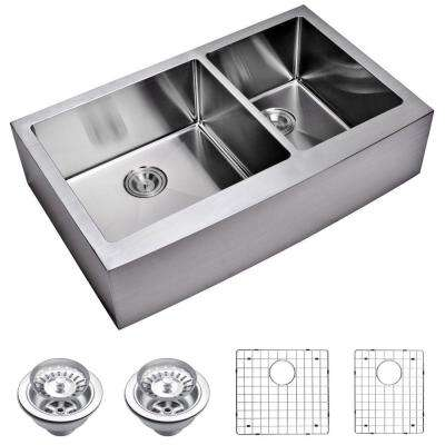 Farmhouse Apron Front Small Radius Stainless Steel 36 in. Double Bowl Kitchen Sink with Strainer and Grid in Satin