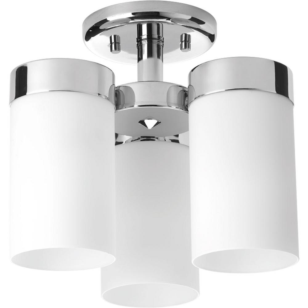 Elevate Collection 3-Light Polished Chrome Flush Mount with Etched White Glass Shades
