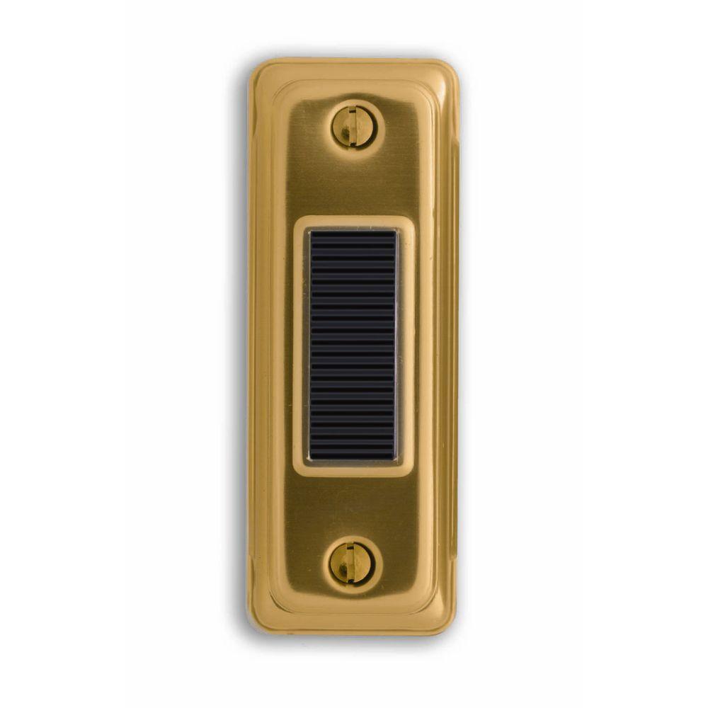 Heath Zenith Wired Gold Push Button With Black Center Bar