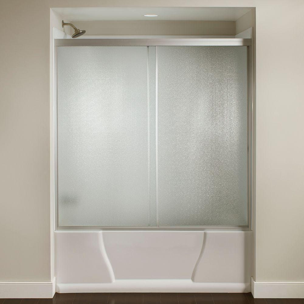 60 in. x 56-3/8 in. Framed Sliding Bathtub Door Kit in Silver with ...