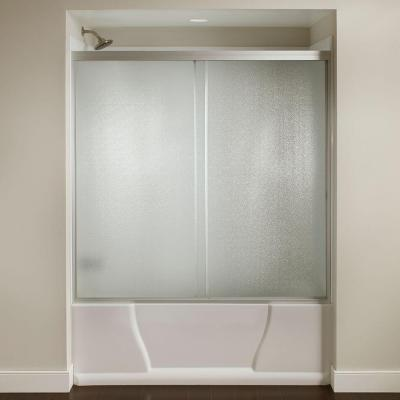 60 in. x 56-3/8 in. Framed Sliding Bathtub Door Kit in Silver with Pebbled Glass