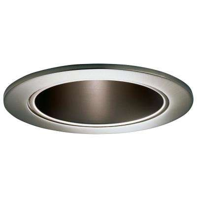4 in. Satin Nickel Recessed Ceiling Light Cone Trim with Satin Nickel Reflector