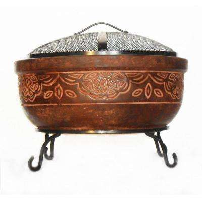 20 in. Clay Fire Pit with Iron Stand (Scroll)