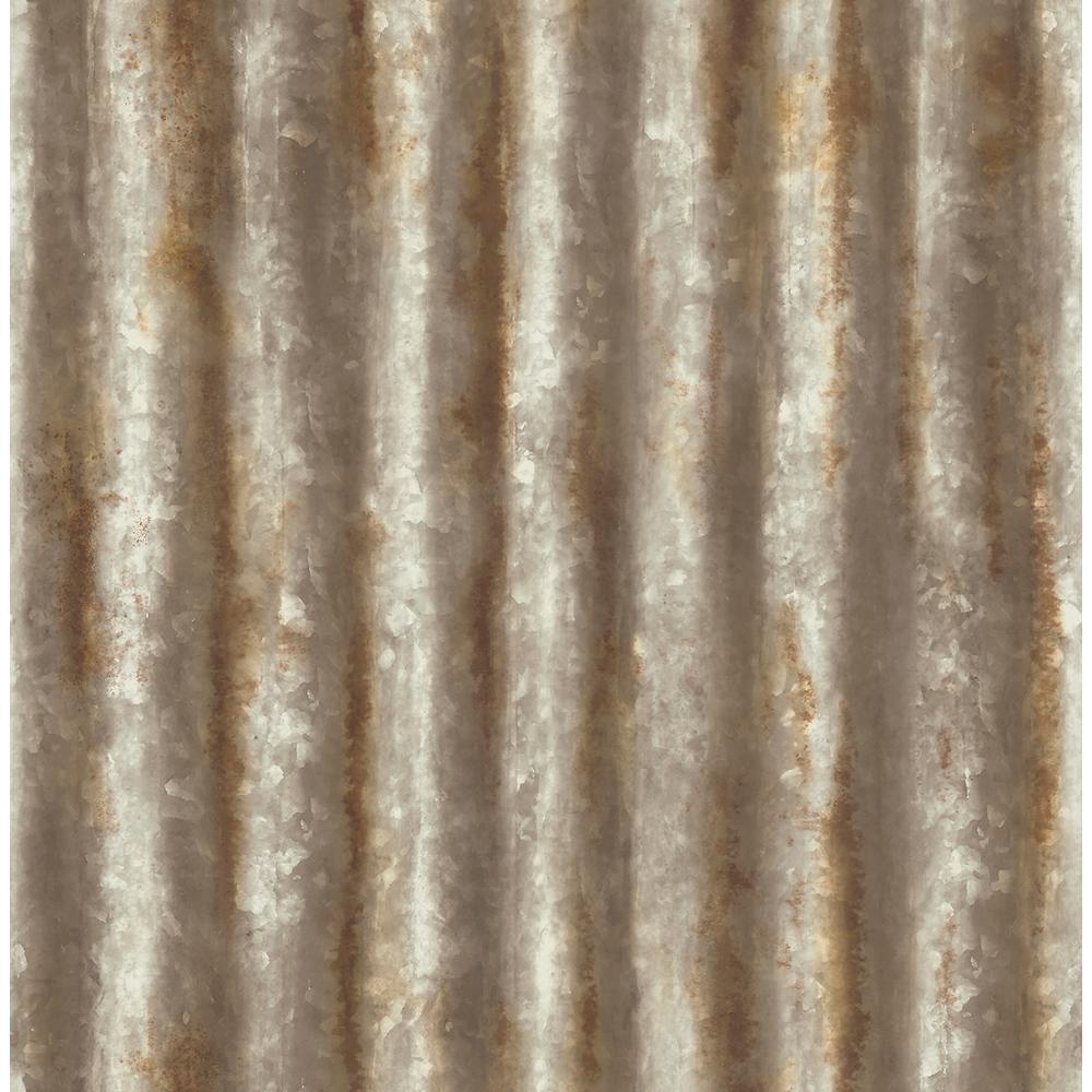 Kirkland Rust Corrugated Metal Wallpaper Sample