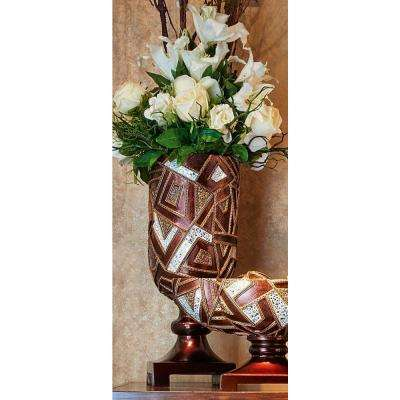 19.75 in. Deep Brown Polymosaic Decorative Vase