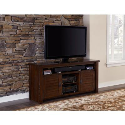 Trestlewood 64 in. Mesquite Pine Wood TV Stand Fits TVs Up to 55 in. with Storage Doors