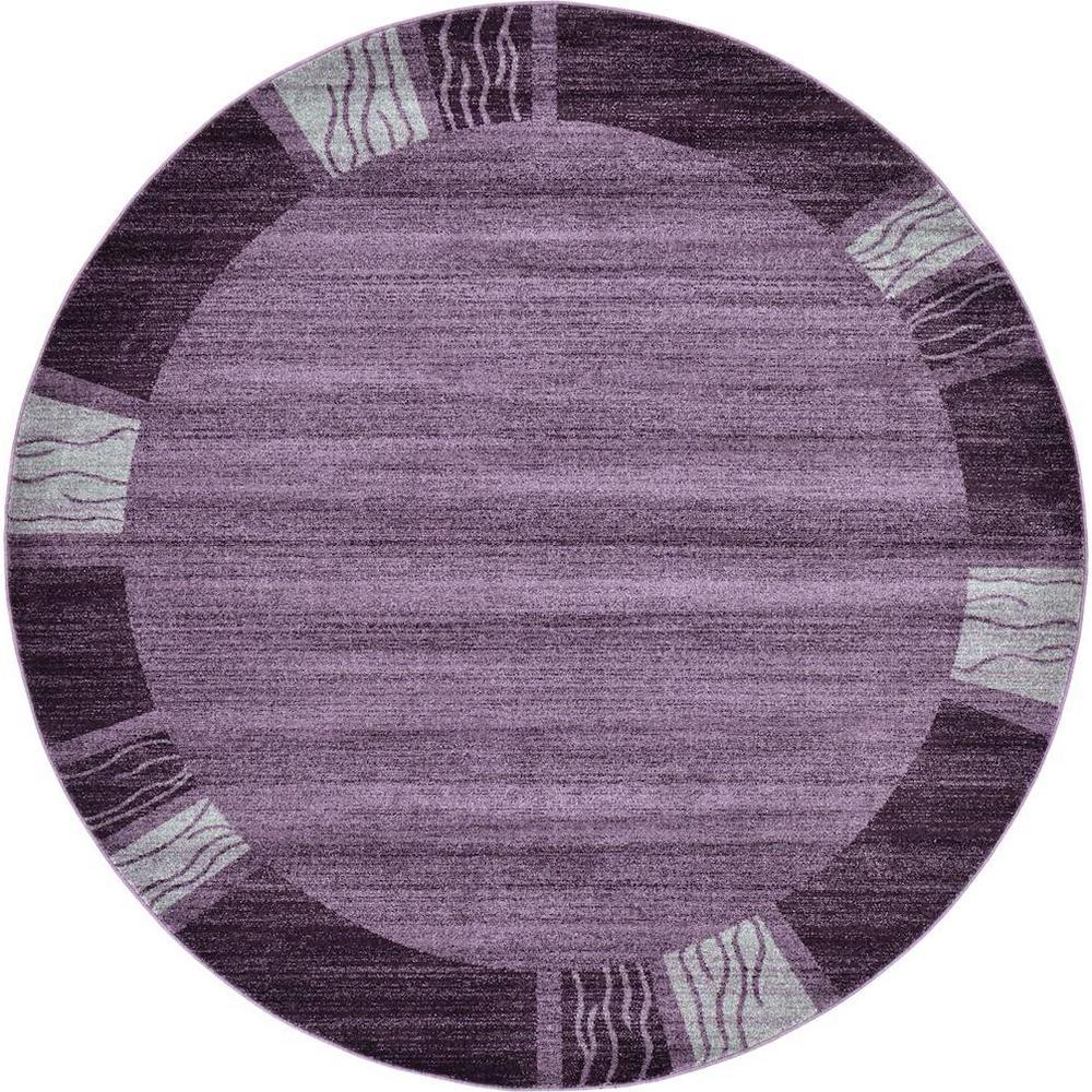 Unique Loom Del Mar Purple 8' X 8' Round Rug-3120527
