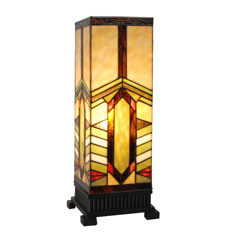 River Of Goods 17 In Multi Colored Stained Gl Indoor Table Lamp With Mission Style Stone Mountain Shade