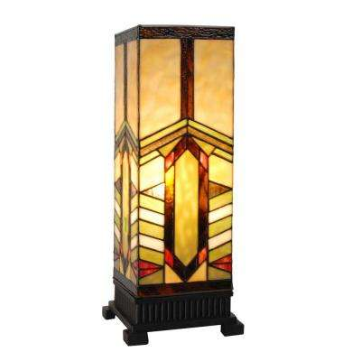 17 in. Multi-Colored Stained Glass Indoor Table Lamp with Mission Style Stone Mountain Shade