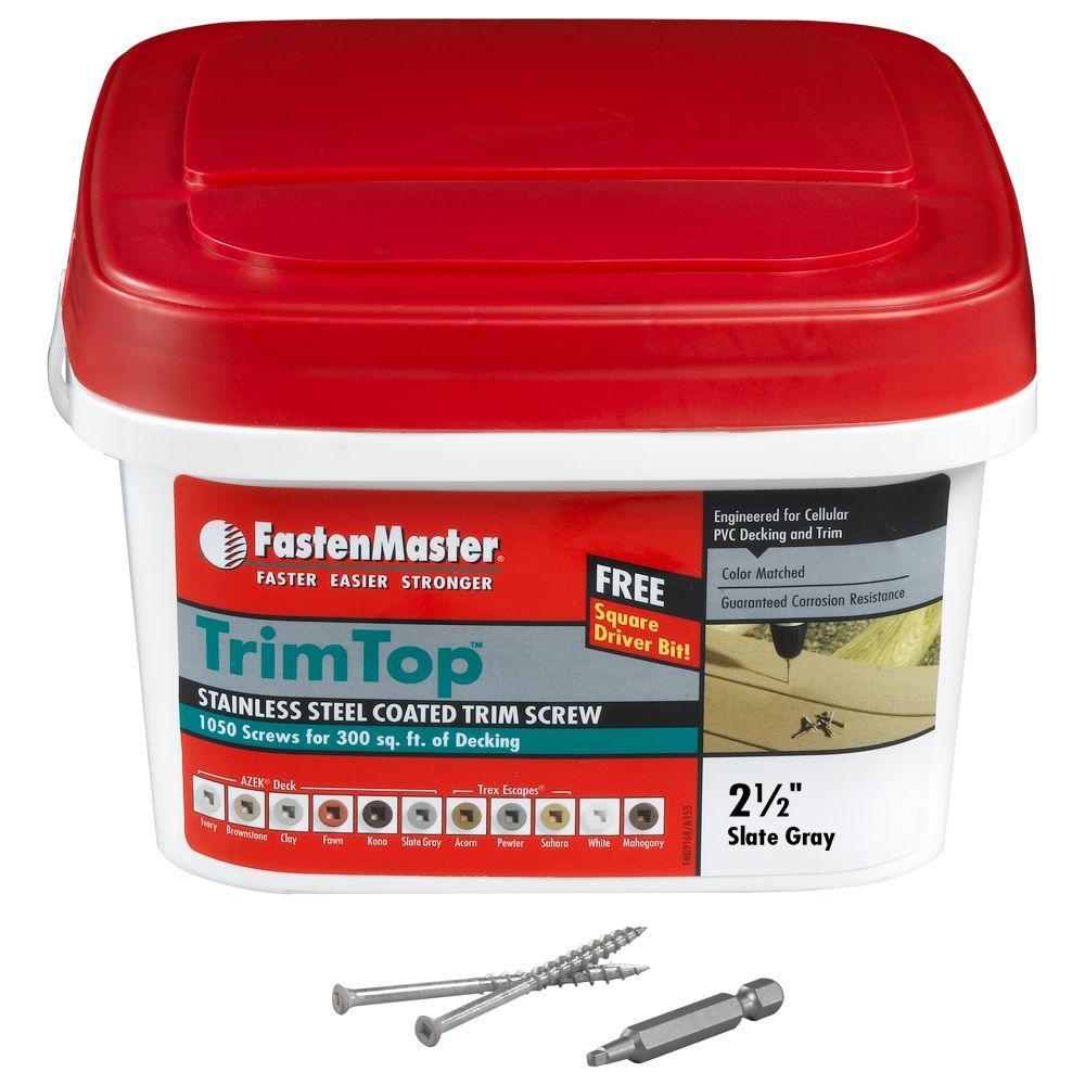 FastenMaster TrimTop 2-1/2 in. Stainless Steel Slate Grey Trim Screw (1050 per Pack)