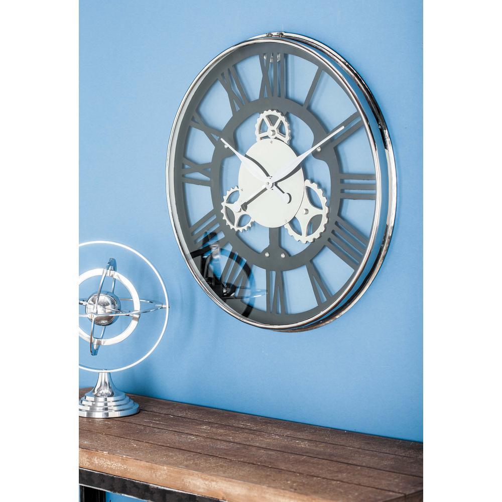 Black and Silver Metal Round Analog Wall Clock