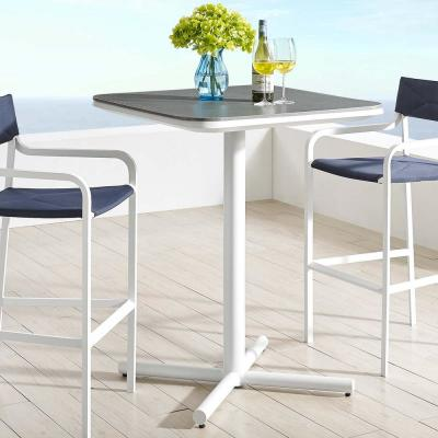 Raleigh Aluminum Bar Height Patio Outdoor Dining Table in White
