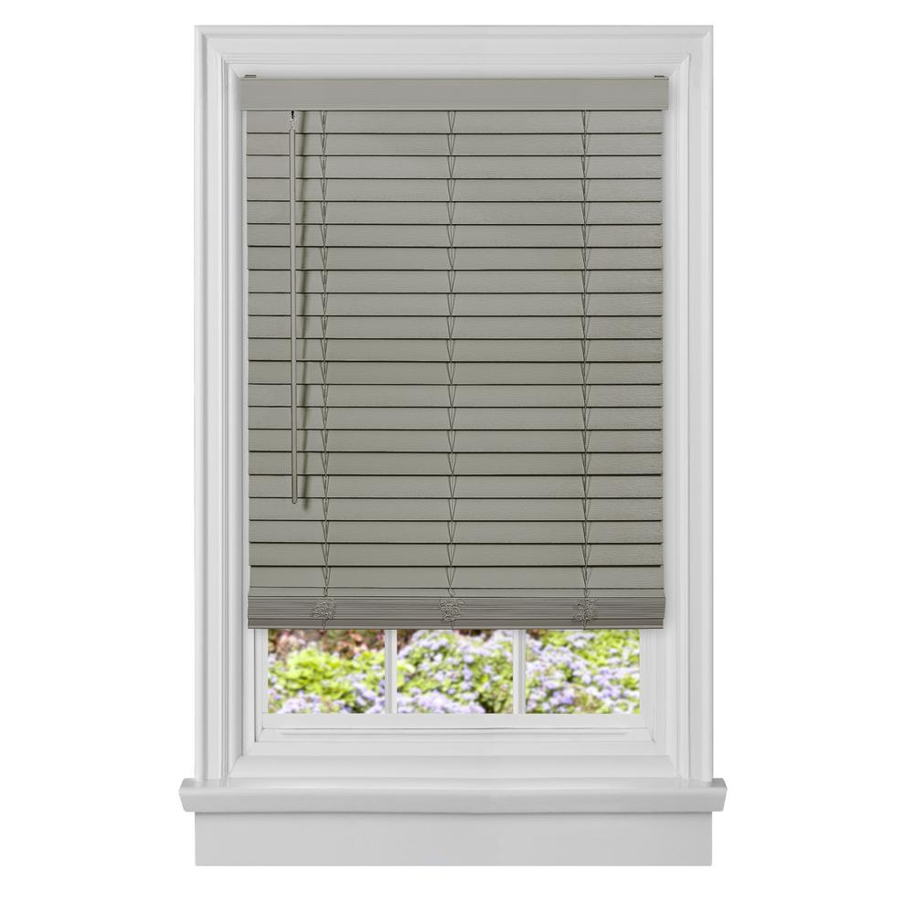 Achim Grey Cordless Room Darkening Plantation Faux Wood Blinds with 2 in. Slats 35 in. W x 64 in. L