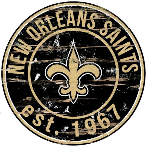 24'' NFL New Orleans Saints Round Distressed Sign
