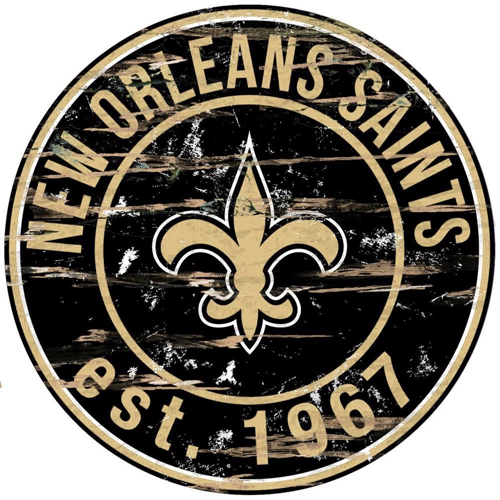New Orleans Saints Round Distressed