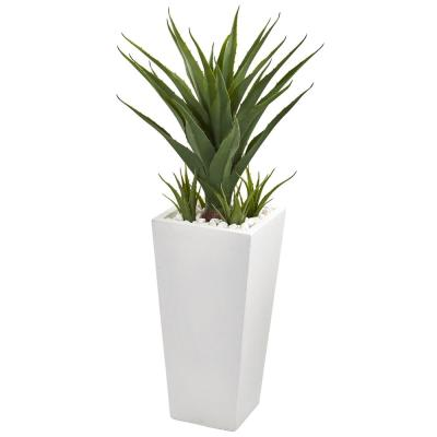 40 in. Spiky Agave Artificial Plant in White Planter