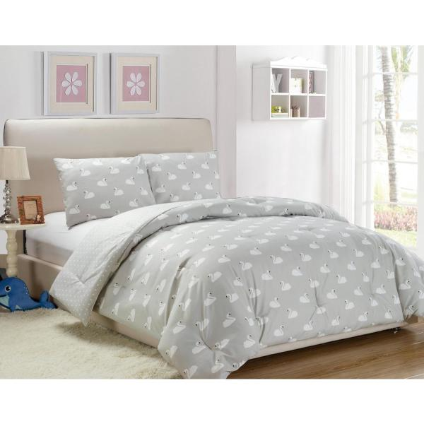 Kensie Chenia 2 Piece Grey Twin Comforter Set CH3GY=3 /13322