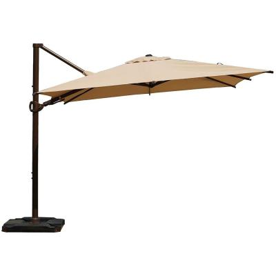 10 ft. x 10 ft. 360-Degree Rotating Aluminum Cantilever Patio Umbrella with Base Weight in Beige