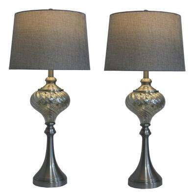 30 in. Brushed Steel and Swirled Mercury Glass Font Table Lamps