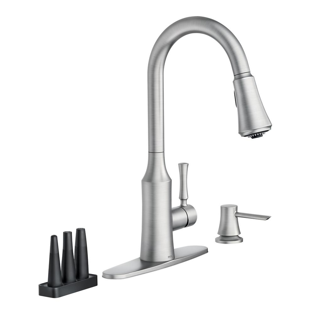 Moen Venango Single Handle Pull Down Sprayer Kitchen Faucet With Reflex And Power Clean Attachments In Spot Resist Stainless 87113srs The Home Depot