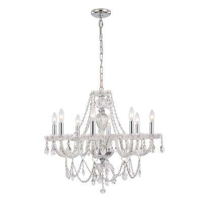 8-Light Crystal and Chrome Chandelier