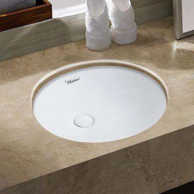 Isabella Plus Collection 16 in. Oval Undermount Vessel Sink in White
