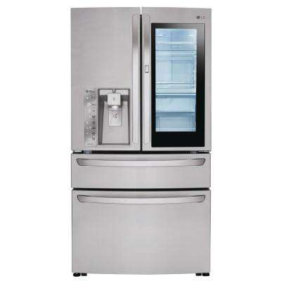 23 cu. ft. 4-Door French Door Refrigerator with InstaView Door-in-Door in Stainless Steel, Counter Depth
