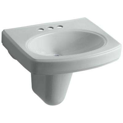 Pinoir Wall-Mounted Vitreous China Bathroom Sink in Cashmere with Overflow Drain