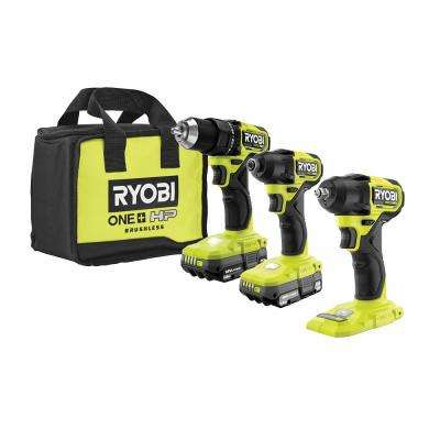 ONE+ HP 18V Brushless Cordless Compact 1/2 in. Drill/Driver, Impact Driver, Impact Wrench, (2) Batteries, Charger