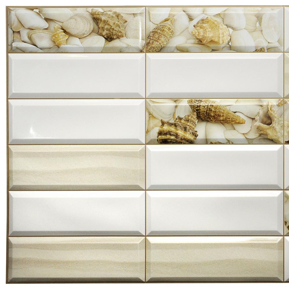 3D Falkirk Retro 10/1000 in. x 38 in. x 19 in. White Beige Faux Shells Sand PVC Wall Panel