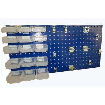3/8 in. Blue Steel Square Hole Pegboards with LocHook Assortment (12-Pieces)