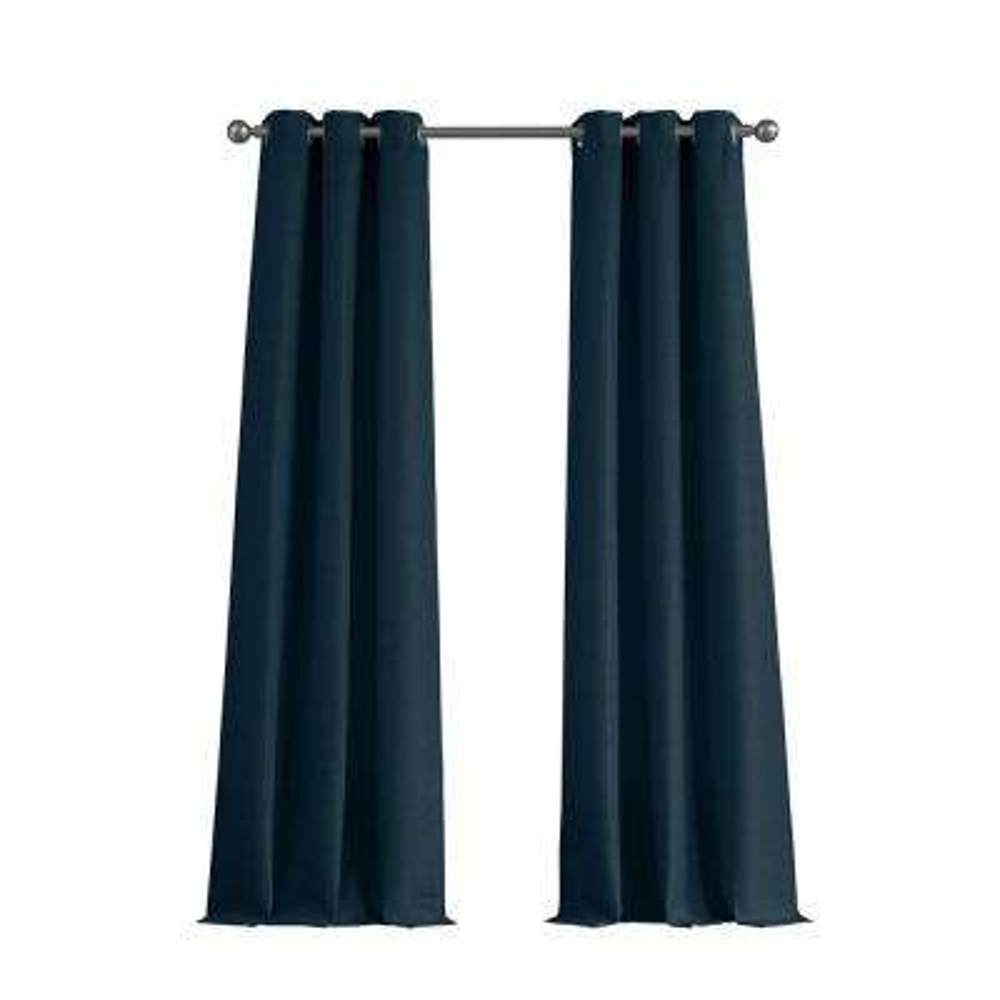 Raw Faux Silk Grommet 76 in. x 96 in. Curtain Panel Pair in Indigo
