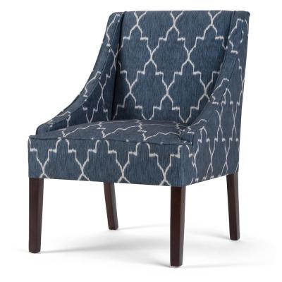 Hayworth 25 in. Wide Transitional Accent Arm Chair in Cobalt Blue Moroccan Patterned Fabric