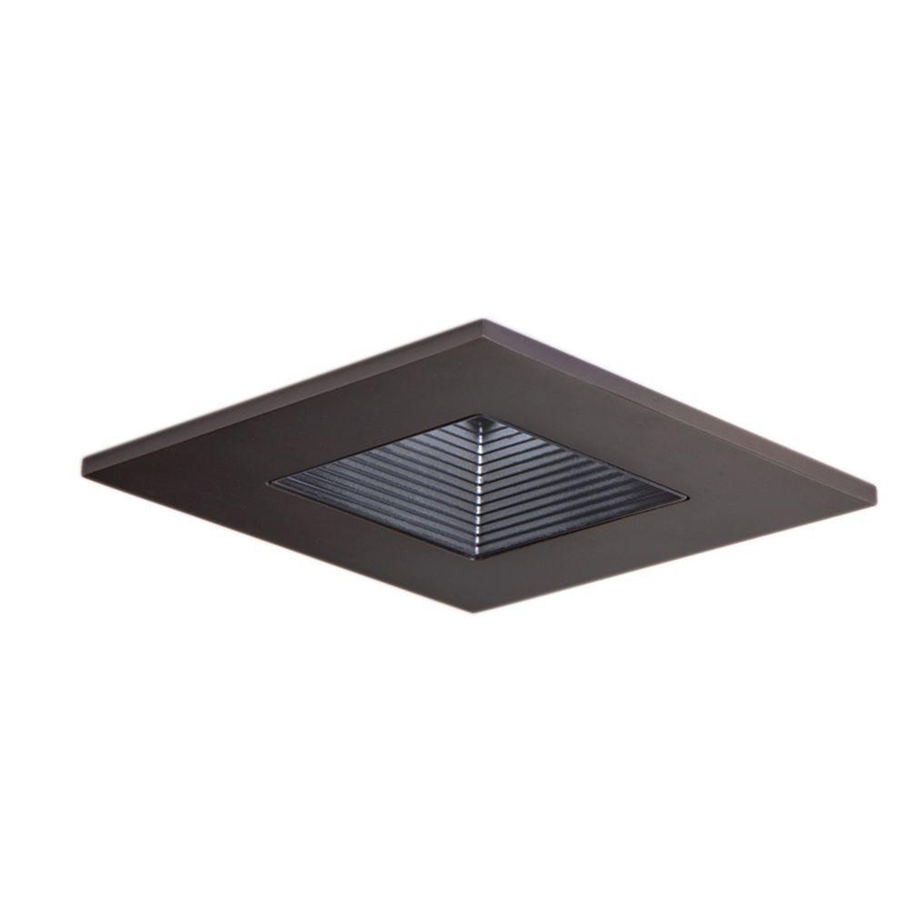3 in. Tuscan Bronze Recessed Ceiling Light Square Trim with Regressed