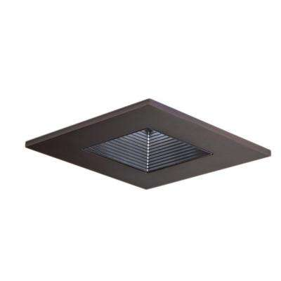 3 in. Tuscan Bronze Recessed Ceiling Light Square Trim with Regressed Lens and Black Baffle, Wet Rated Shower Light