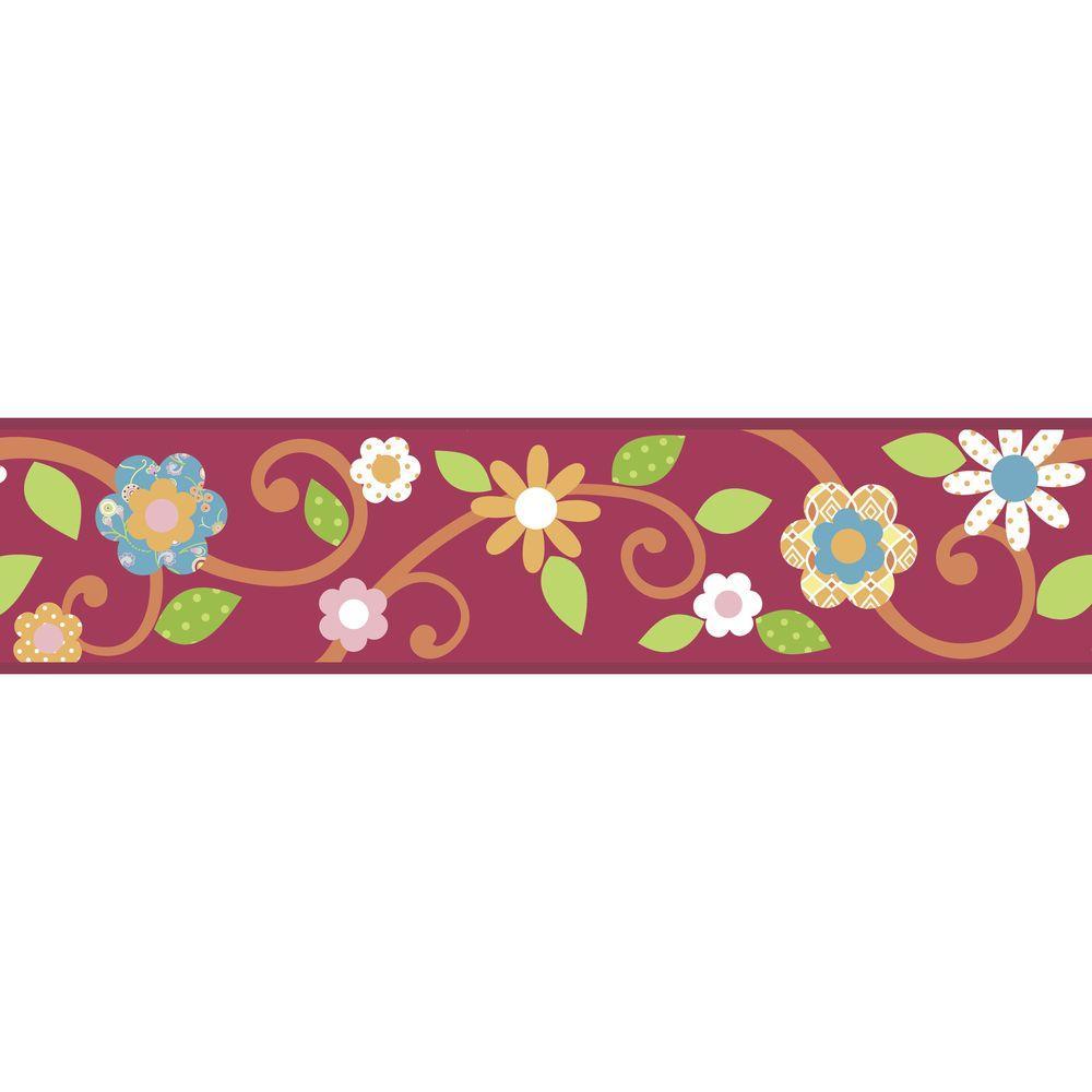 Magenta/Orange Scroll Floral Peel and Stick Wallpaper Border