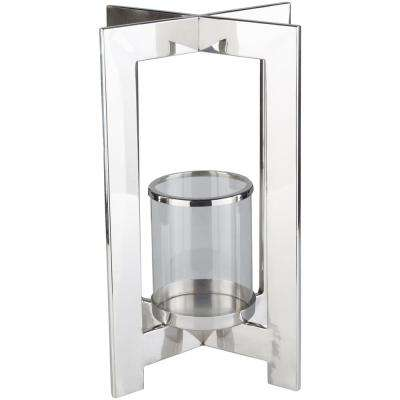 Aenu 16 in. Silver Stainless Steel Candle Holder