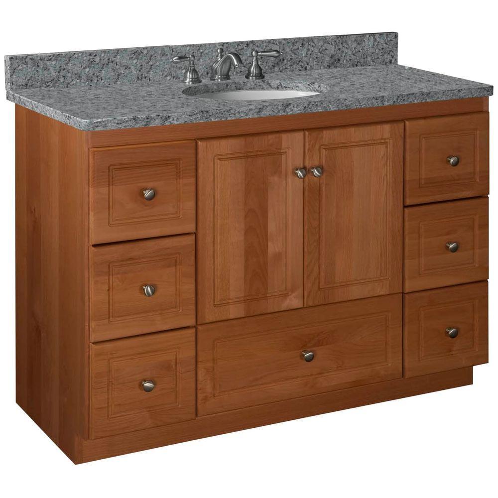 Ultraline 48 in. W x 21 in. D x 34.5 in. H Vanity Cabinet Only in Medium Alder