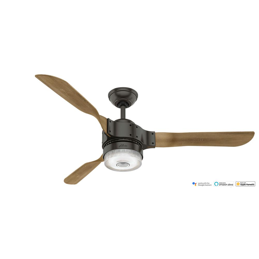 Hunter apache wifi enabled apple homekitgoogle homealexa 54 in hunter apache wifi enabled apple homekitgoogle homealexa 54 in indoor noble bronze ceiling fan with light kit and remote 59226 the home depot aloadofball Image collections