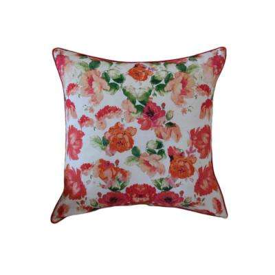A1HC Multi-Color Floral 20 in. Cotton Throw Pillow