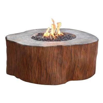 Manchester 40 in. x 17 in. Round Concrete Propane Fire Pit Table in Redwood with Burner and Lava Rock