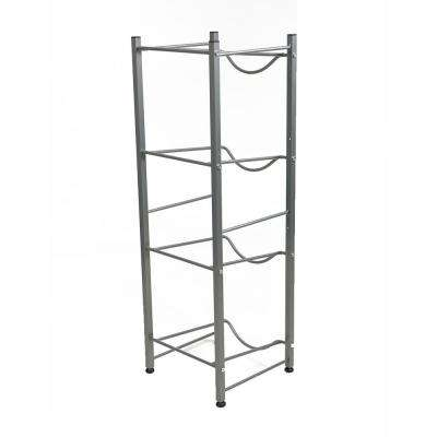 41.34 in. H x 13.39 in. W x 13.39 in. L 4-Tier Metal Water Cooler Jug Rack in Silver
