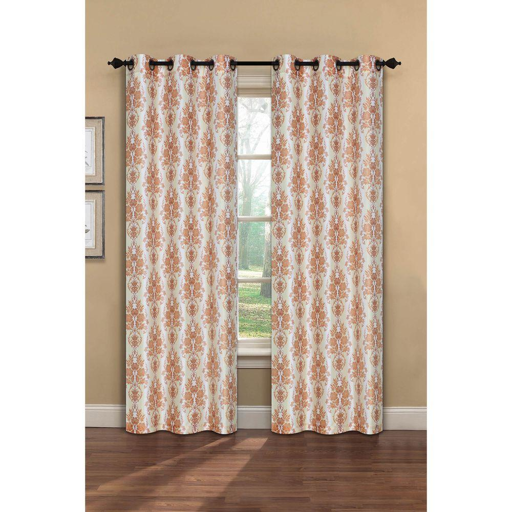 Window Elements Semi-Opaque Meridith Printed Faux Silk 84 in. L Grommet Curtain Panel Pair, Rust (Set of 2)