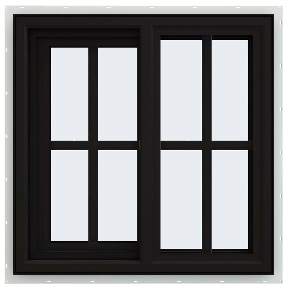 JELD-WEN 23.5 in. x 23.5 in. V-4500 Series Left-Hand Sliding Vinyl Window with Grids - Black