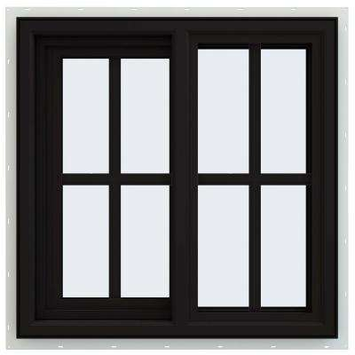 24 in. x 24 in. V-4500 Series Black FiniShield Vinyl Left-Handed Sliding Window with Colonial Grids/Grilles